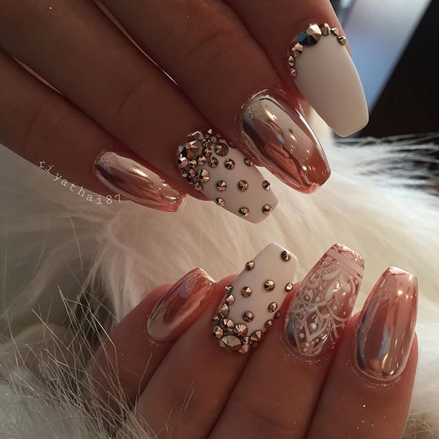 Rose gold chrome, white, Crystal nail art
