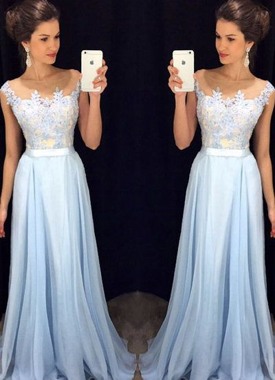 Prom Dresses ,prom gown,Light blue A-line chiffon lace long prom dress, bridesmaid dress by DestinyDress, $188.39 USD