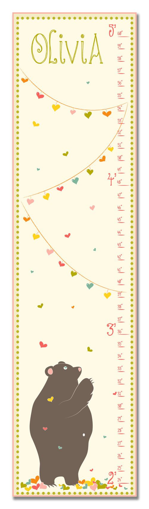 17 best childrens growth charts images on pinterest bricolage childrens growth chart nursery art love bear pink by kzukowski geenschuldenfo Choice Image