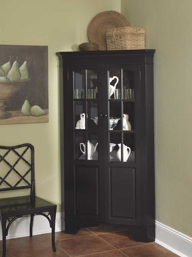 home styles corner curio cabinet with light black