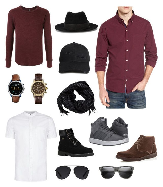 """Toma's street style"" by arini-lioni on Polyvore featuring Kazuyuki Kumagai, Topman, 7 Diamonds, 21 Men, Maison Michel, MANGO MAN, Lugz, adidas, John Varvatos * U.S.A. and FOSSIL"