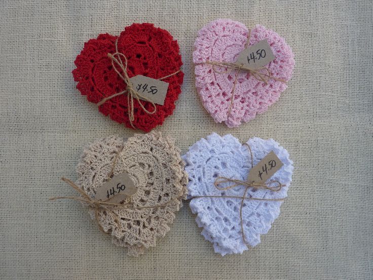 Heart Doilies Red, Pink, Beige, White 5 -$.50