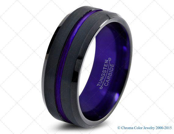 Mens Wedding Band Black Purple Tungsten Ring Black Wedding