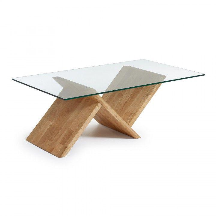 Table basse avec pied en bois de ch ne massif plateau en for Table basse verre trempe