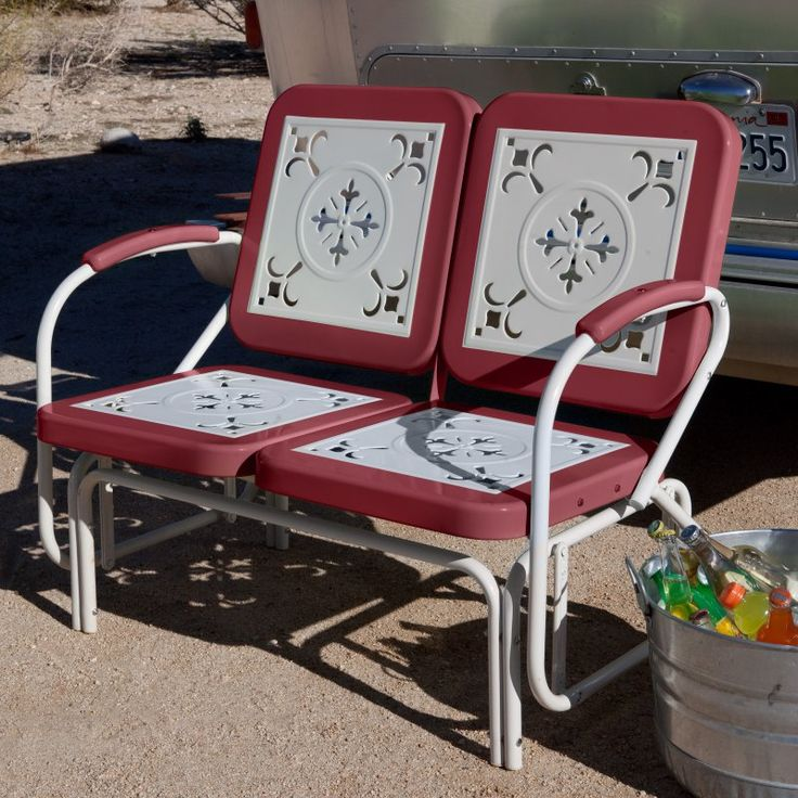 Coral Coast Paradise Cove Retro Metal Outdoor Glider Loveseat Cherry Red - DS7155R