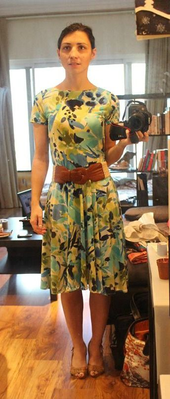 Beautiful Brief Encounter dress sewn by Anais from the free pattern from So Sew Easy