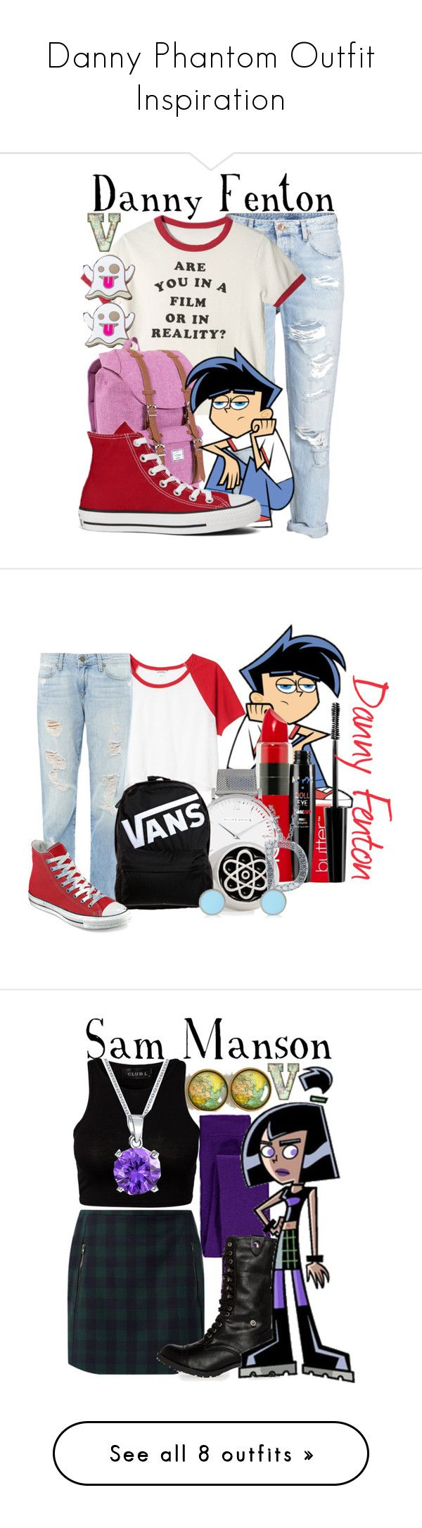 """""""Danny Phantom Outfit Inspiration"""" by xo-jasmin ❤ liked on Polyvore featuring H&M, PINTRILL, Herschel Supply Co., Fenton, Converse, Monki, NYX, Paige Denim, Larsson & Jennings and Crislu"""