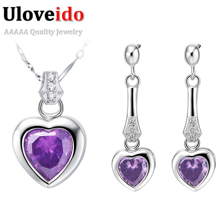 Find More Jewelry Sets Information about Cristal Collar Pendientes White Zircon Pendant Wedding Jewelry Set for Women Purple Necklace with Earrings 2015 Ulove T028,High Quality set shoe,China set love Suppliers, Cheap settings smtp from ULOVE Fashion Jewelry on Aliexpress.com