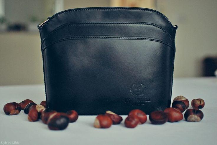 #paoloperuzzi #autumn  black bag leather Paolo Peruzzi I Skórzana torebka damska kuferek na ramię już dostępna w www.SuperGalanteria.pl