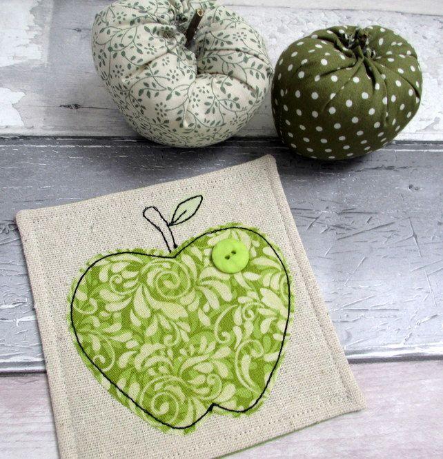 Thank You Gift - Apple Coaster -Fabric Coaster - Green Apple Coaster £6.50
