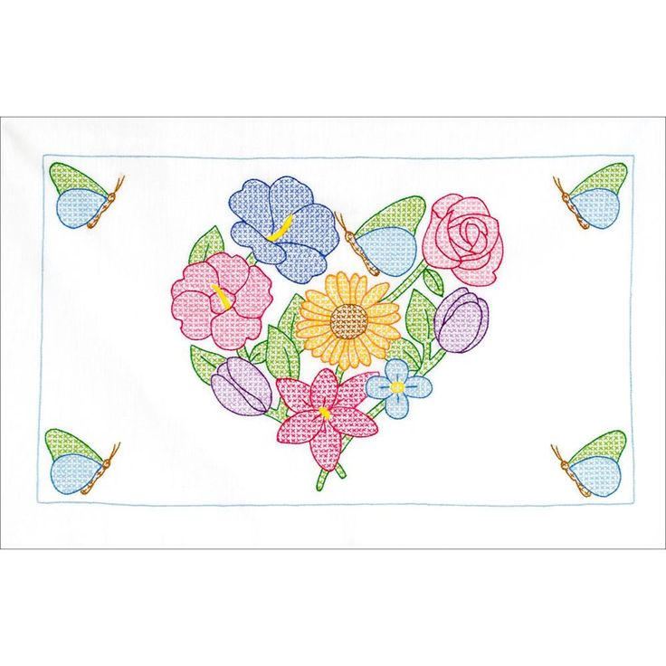 Flowers & Heart Stamped Embroidery Pillowcase Shams 2/Pkg