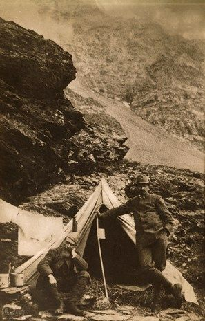 Cesare Battisti with volunteer Larcher in front of their tent at Montozzo. World War I, Italy, 20th century.
