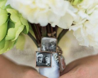 Photo Memory Charm Bridal Bouquet To Hang On Wedding Keepsake Something Blue For Shower