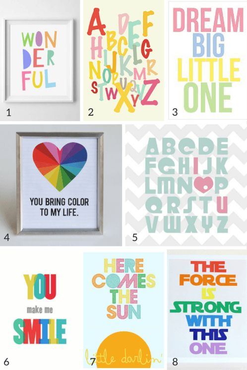 Free nursery wall art printables