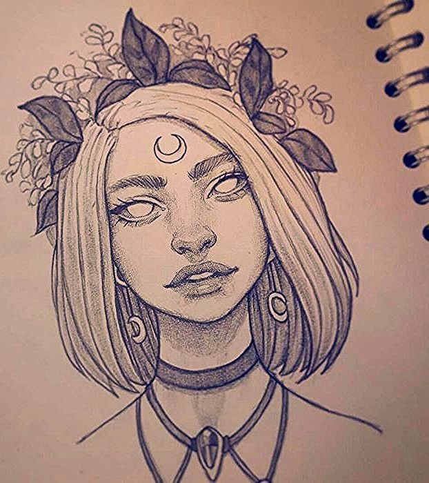 Short Blonde Hair Black And White Drawing Flower Crown How To Draw Female Bod Black Em 2020 Desenho Hippie Desenhando Esbocos Desenhos De Rostos