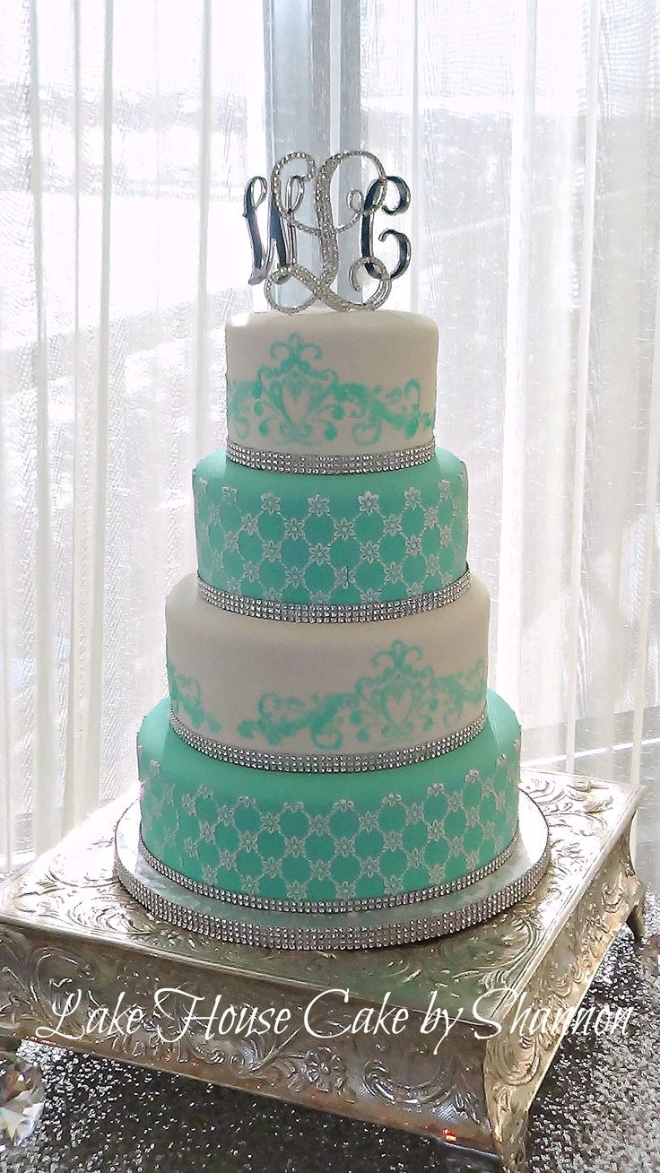 White Tiffany Blue Teal Turquoise Aqua Stenciled Scroll