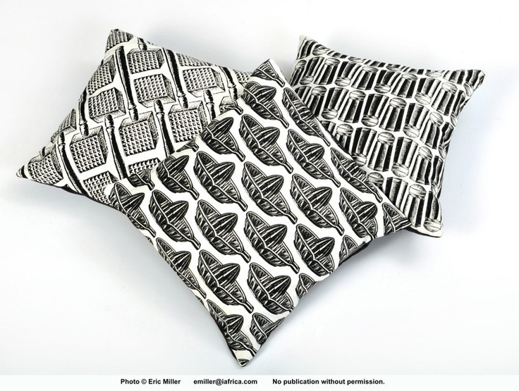 printed cushions.  Maid in Africa.  Screen-printed cushions in repetitive kitchen patterns.