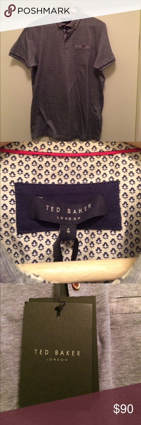 Brand new AUTHENTIC Ted Baker short sleeve polo. NWT AUTHENTIC Ted Baker short sleeve polo. Size 4 which is size L. Dark blue color. Bought from Nordstrom for $110. Other sizes available upon inquiry. Ted Baker London Shirts Polos