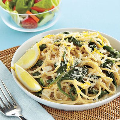 Try our fast Spaghetti with Ricotta, Lemon and Spinach recipe for dinner.