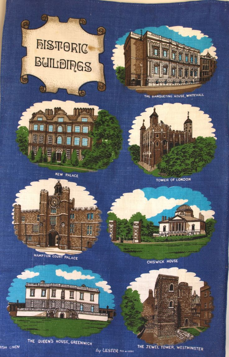 Vintage Ulster Historical Buildings London Tea Towel - Tower of London, Chiswick, Kew Palace Tea Towel - Made in Ireland - New Old Stock by FunkyKoala on Etsy