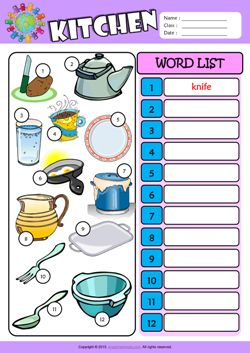 Kitchen Write the Words ESL Vocabulary Worksheet