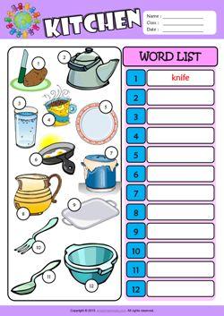 kitchen write the words esl vocabulary worksheet