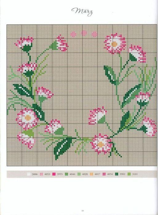 fleur - flower - paquerettte - point de croix - cross stitch - Blog : http://broderiemimie44.canalblog.com/