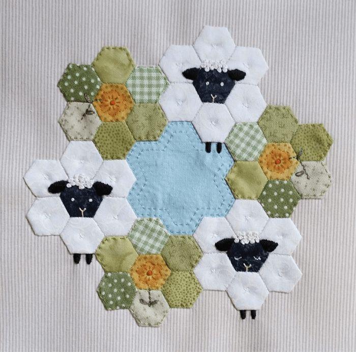 "Sheep hexies! quilt block ""Inchy Hexagon Club"" by Jane Davidson for The Splendid Sampler | via Aurifil Auribuzz blog"
