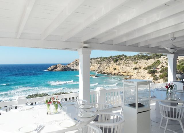 Hotspot Cotton Beach Club at the beautiful bay of Cala Tarida, Ibiza!