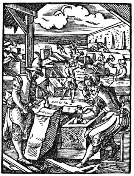 Steinmetze bei der Arbeit (Darstellung aus dem 16. Jahrhundert)