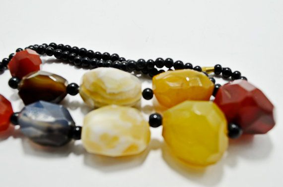 Modern Bright Multicolour Faceted Agate Statement Big Bold Chunky Necklace, Gemstone Beaded Holiday Fashion Necklace, Christmas Gift for Her
