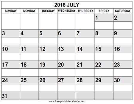 Blank July 2016 Calendar Template