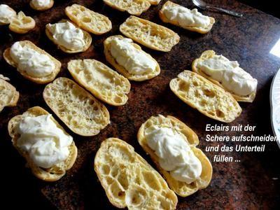 Rezept: Brandteig:   ECLAIRS mit Sahne-Pudding-Füllung Bild Nr. 13