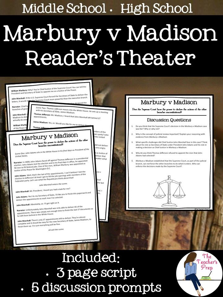 Learning about a major landmark Supreme Court case has never been more engaging! The Marbury v Madison Reader's Theater is a perfect addition to the Civics curriculum in middle school or high school.