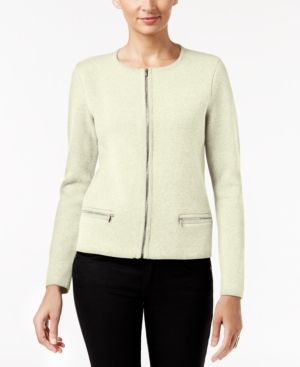 Charter Club Petite Zip-Up Cardigan, Only at Macy's - Tan/Beige P/XL