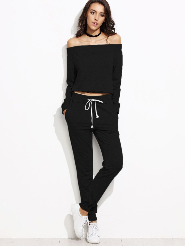 Two-piece Outfits by BORNTOWEAR. Bardot Neckline Top With Drawstring Pants