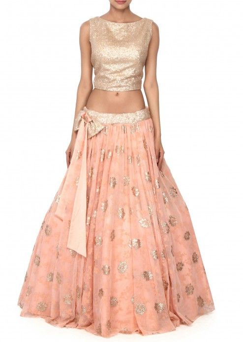 <p>‌Peach lehenga adorn in sequin work only on Kalki</p>