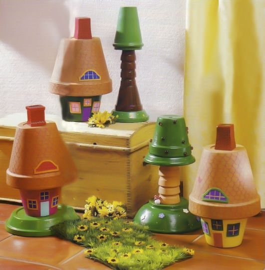 a small village with clay pot houses