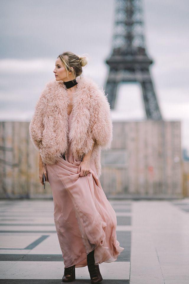 Blush pink dress and jacket, Paris Fashion Week