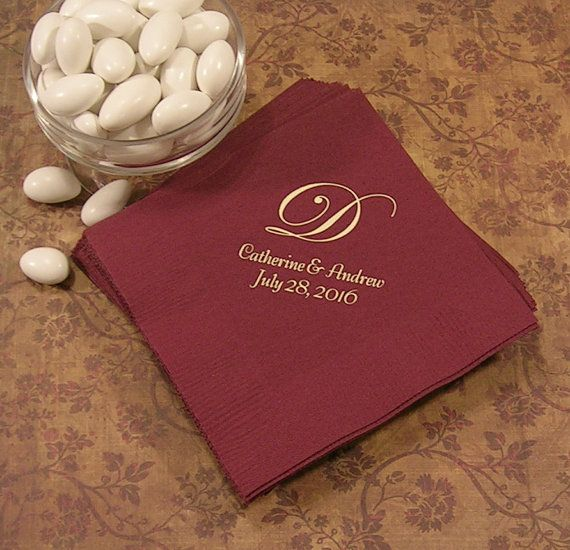These napkins feature a single, elegant Edwardian monogram letter and use Bernhard Tango style font for your names and date. Napkin color in photo: Burgundy  After you have made your purchase, please provide all your order information in the notes to seller during checkout:  1) Date you need your order 2) Napkin color 3) Print color 4) Text you want printed 5) Single monogram letter To guide you through this process, please read all the following information, then feel free to contact me…