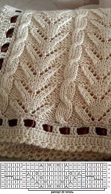 Lace Cable including chart. Crochet edging features a ribbon casing. This looks like a baby shawl / blanket ~~ Вязание узора спицами