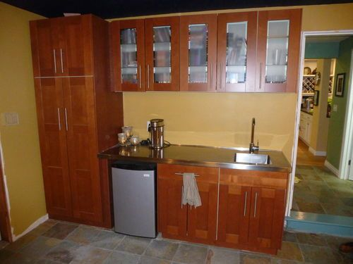 snack bar with ikea kitchen cabinets downtown