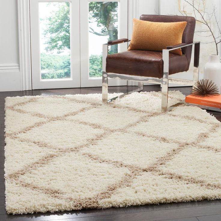 Dallas Shag Ivory/Beige 5 ft. 1 in. x 7 ft. 6 in. Area Rug
