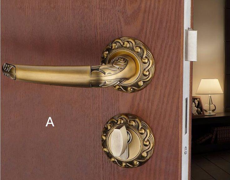 Высокая топ Европейского оборудования дверные замки Крытый деревянный замки Желтый бронзовый спальня Тихая mute сплит ручка замки механические замки купить на AliExpress
