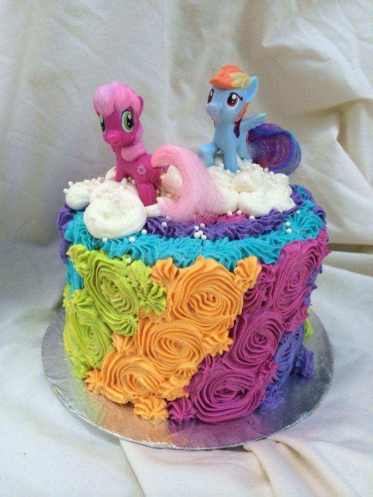Rainbow Buttercream Rosettes My Little Pony Birthday Cake