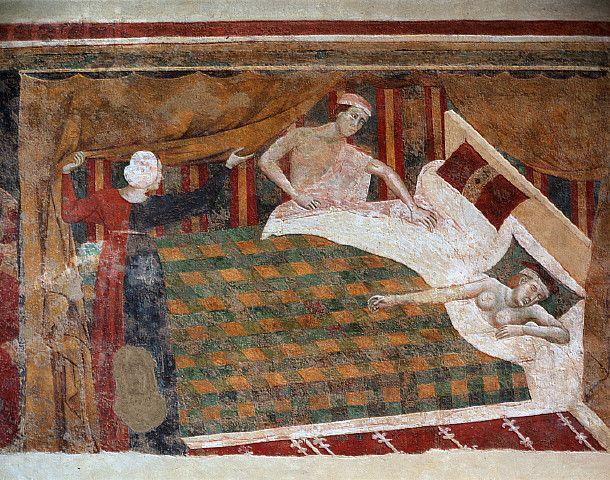 Memmo di Filipuccio, Bed Scene, c. 1320, Palazzo del Podestà, San Gimignano