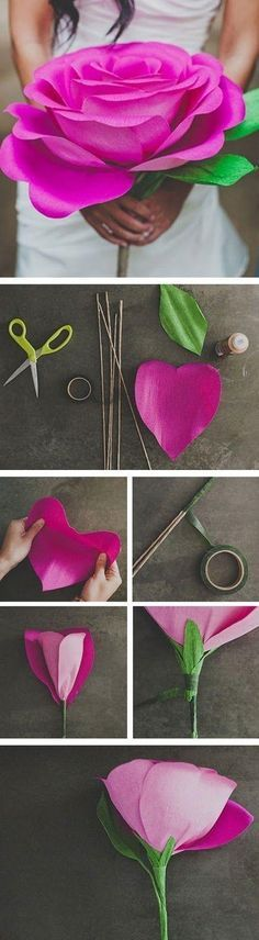 Try making this giant rose. It's lovely and something different for mothers day. You can make just one, then take your student's pictures holding it in front of a sign reading, Happy Mother's Day. #mom #mothersday | found on Green Wedding Shoes blog