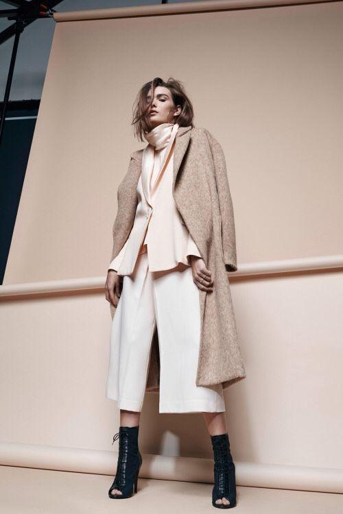 Pink blazer culotte trouser suit, peep toe ankle boot heels, beige coat