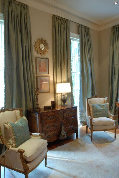 Lovely Dressing Sitting Area, Gold Frames/mirror, Antique Chest, Silk Curtains,  French