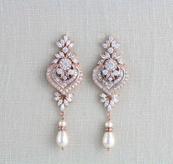 Rose Gold Bridal earrings Chandelier Wedding earrings Bridal jewelry Swarovski Earrings Long earrings Pearl earrings Statement earrings EMMA